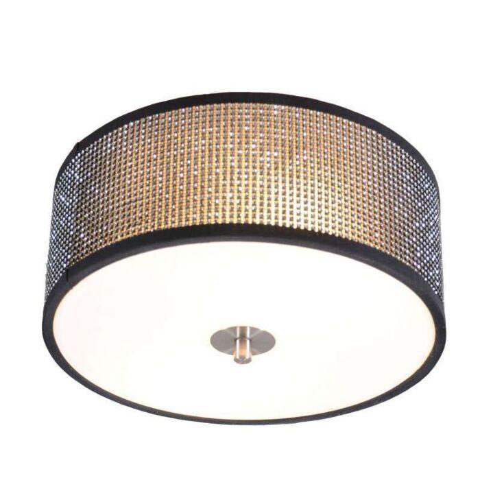 Plafond-'Drum-30'-Design-svart/kristall---Passande-för-LED-/-Inomhus