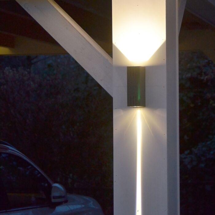 Vägglampa-'Duell'-Design-grafit/aluminium---LED-inkluderat-/-Utomhuslampa,-Inomhus,-Badrum