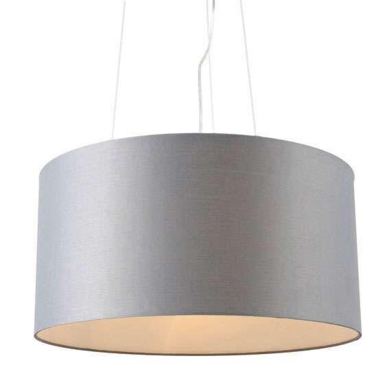 Taklampa-med-skärm-'Drum-60'-Moderna-grå/tyg-Passande-för-LED