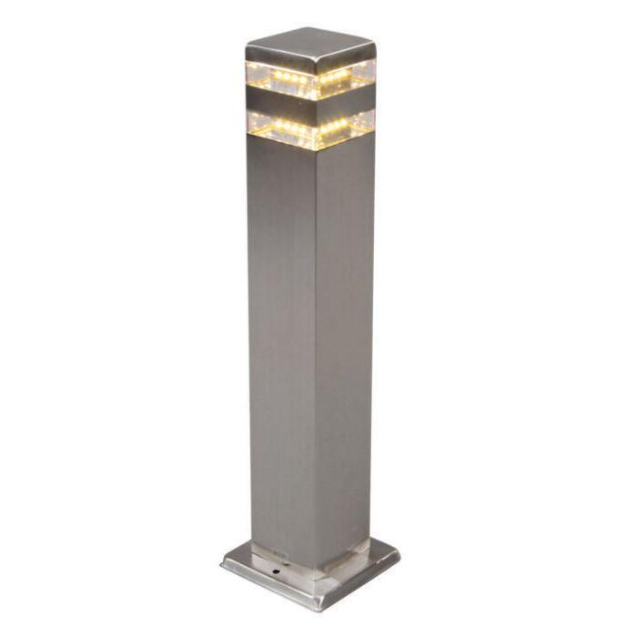 Lykta-till-gång-och-terrass-'Satin-Square-50'-Moderna-rostfritt-stål---LED-inkluderat-/-Utomhus