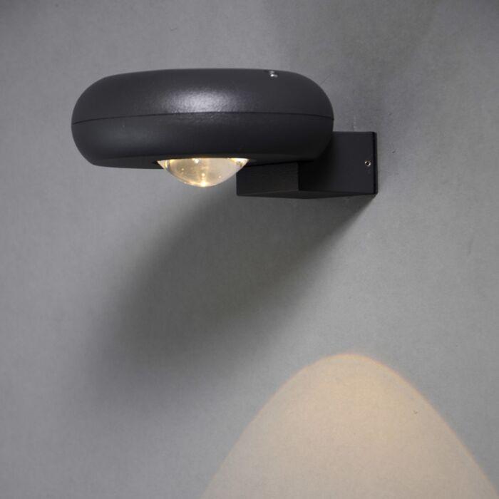Vägglampa-'Diablo-I'-Moderna-grafit/aluminium---LED-inkluderat-/-Utomhuslampa,-Inomhus,-Badrum