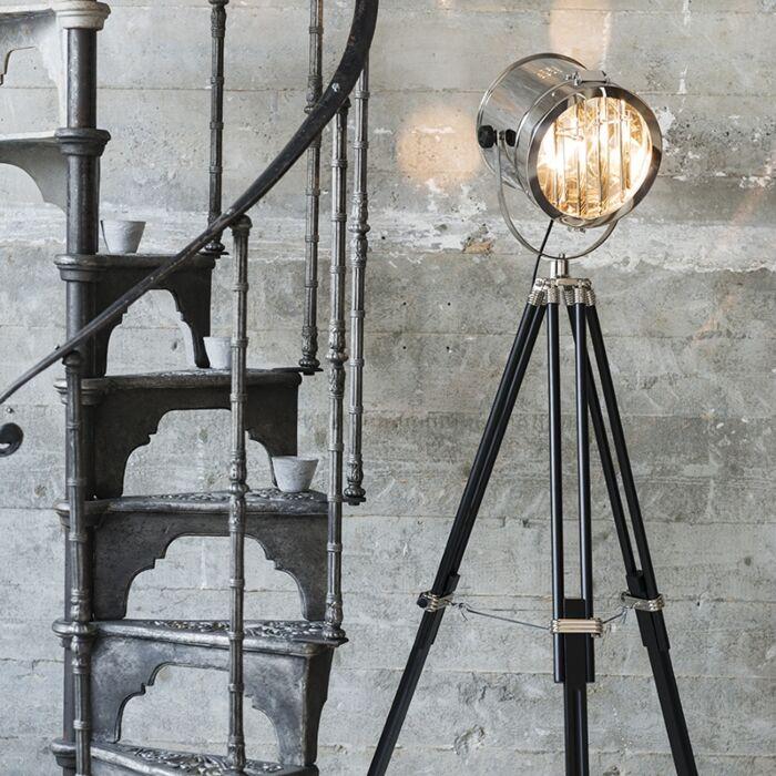 Tripod/staviv-golvlampa-'Tripod-Surveyor-1'-Industriell-krom---Passande-för-LED-/-Inomhus