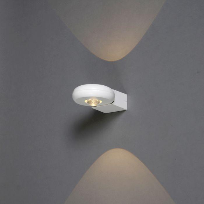 Vägglampa-'Diablo-II'-Moderna-vit/aluminium---LED-inkluderat-/-Utomhuslampa,-Inomhus,-Badrum