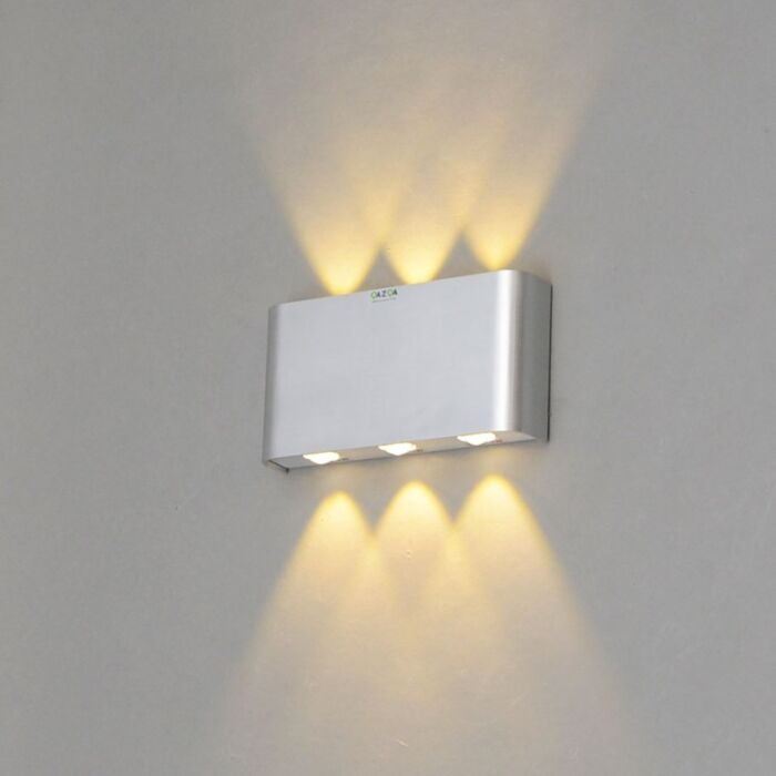 Vägglampa-'Otan-6'-Design-aluminium---LED-inkluderat-/-Inomhus