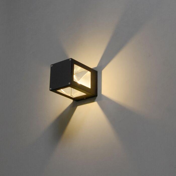 Vägglampa-'Giro'-Moderna-grafit/aluminium---LED-inkluderat-/-Utomhuslampa,-Inomhus,-Badrum