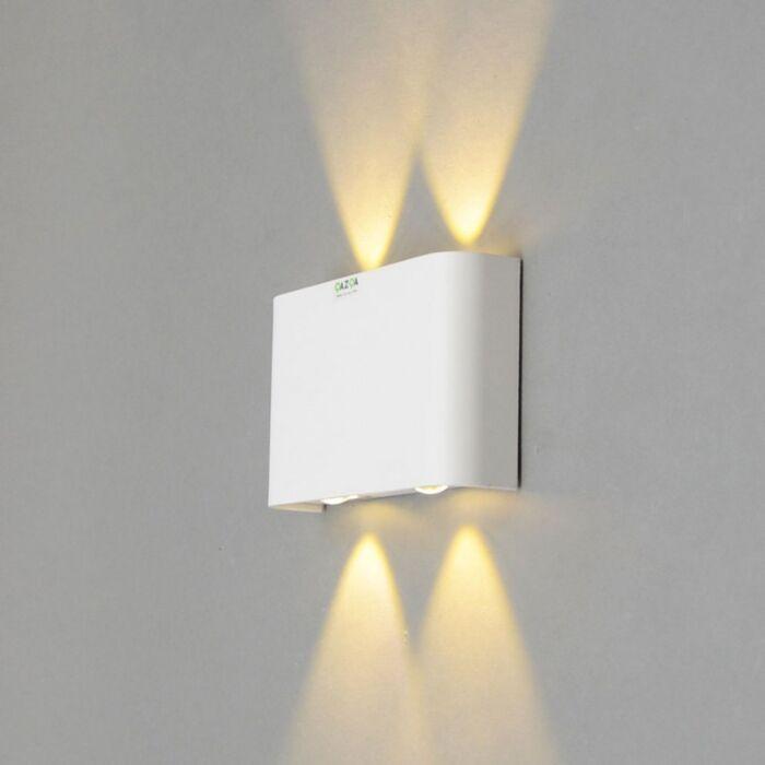 Vägglampa-'Otan-4'-Design-vit/aluminium---LED-inkluderat-/-Inomhus