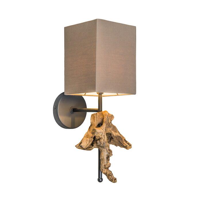 Vägglampa-med-skärm-'Suchin'-Lantlig-brun/tyg---Passande-för-LED-/-Inomhus