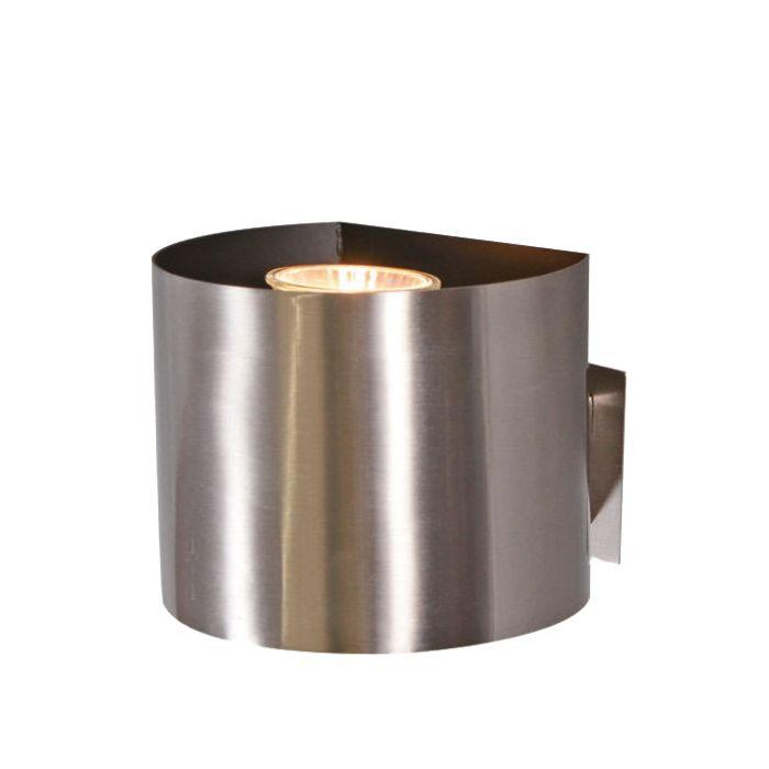 Vägglampa-med-kontakt-'Plug-R'-Moderna-stål---Passande-för-LED-/-Inomhus