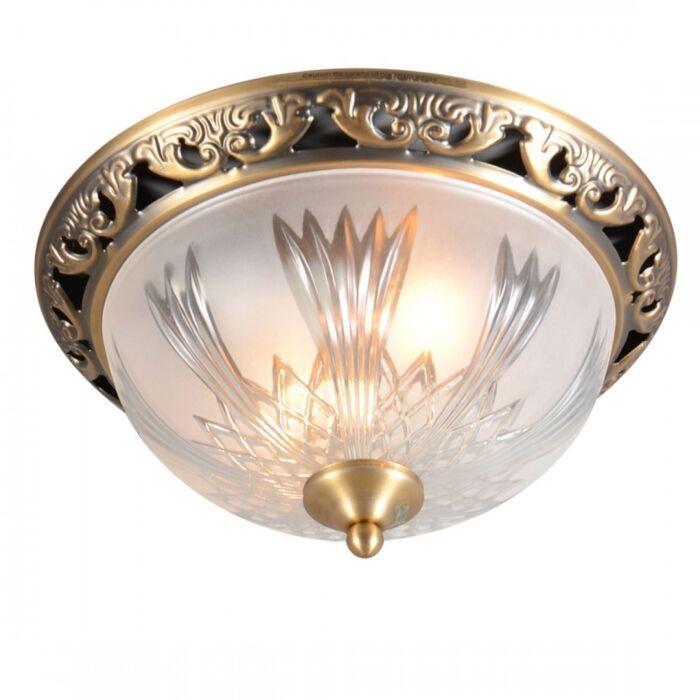 Plafond-'Beatrix-33'-Klassisk-brons/glas---Passande-för-LED-/-Inomhus