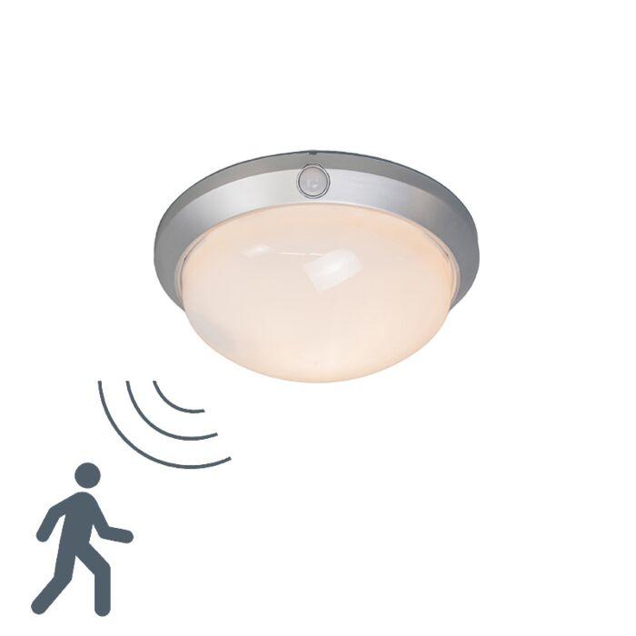 Plafond-med-rörelsedetektor-'Motion-I'-Moderna-vit/glas---Passande-för-LED-/-Utomhuslampa,-Inomhus,-Badrum