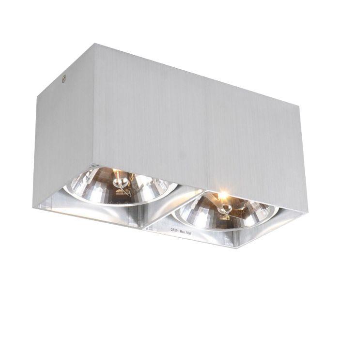 Plafond-strålkastare-'Box-2'-Design-aluminium---Passande-för-LED-/-Inomhus