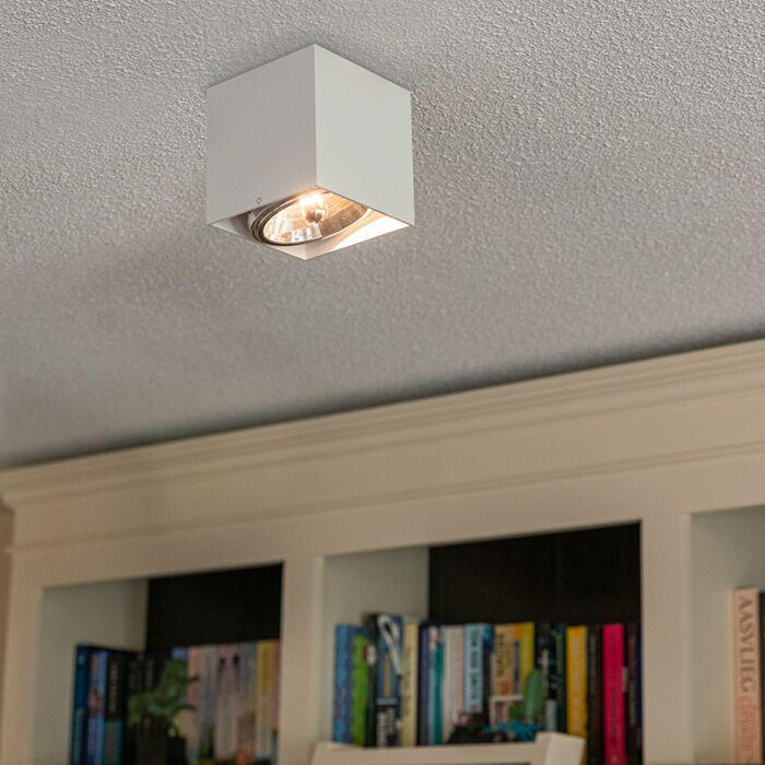 Modern-Fyrkantig-Spotlight-'Box'-inkl.-LED-Vit