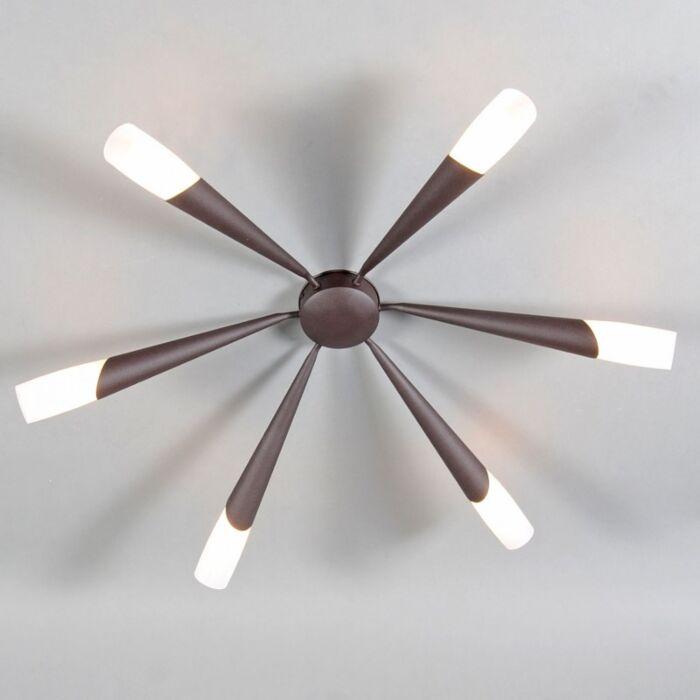 Stor-plafond-'Stream-6'-Klassisk-brunrost/metall---Passande-för-LED-/-Inomhus