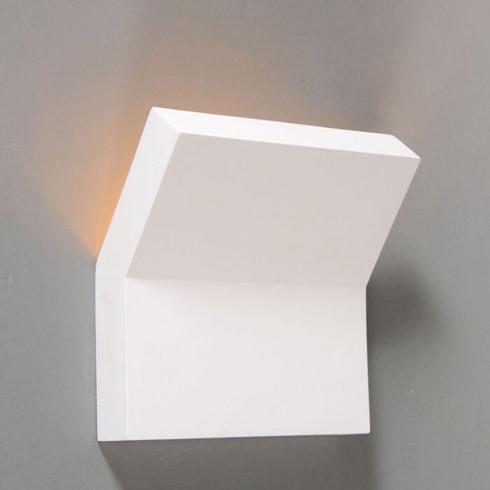 Vägglampa-'Gipsy-Lyon-II'-Moderna-vit/gips---Passande-för-LED-/-Inomhus