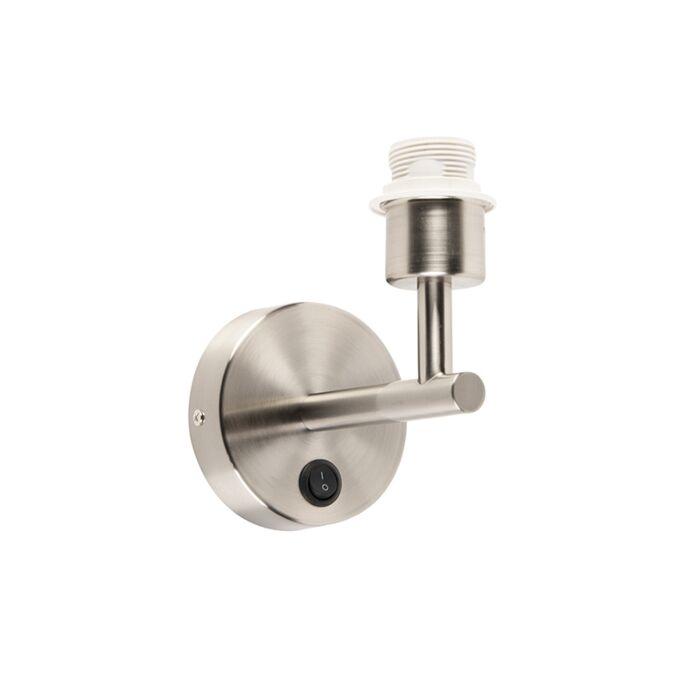 Vägglampa-med-strömbrytare-'Combi-1'-Moderna-stål---Passande-för-LED-/-Inomhus