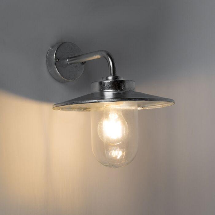 Vägglampa-'Aachen'-Klassisk-grå/zink---Passande-för-LED-/-Utomhuslampa,-Inomhus,-Badrum