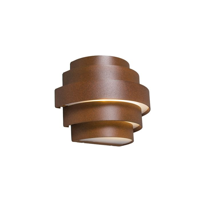 Vägglampa-'Bolster'-Lantlig-brunrost/aluminium---LED-inkluderat-/-Utomhuslampa,-Inomhus,-Badrum