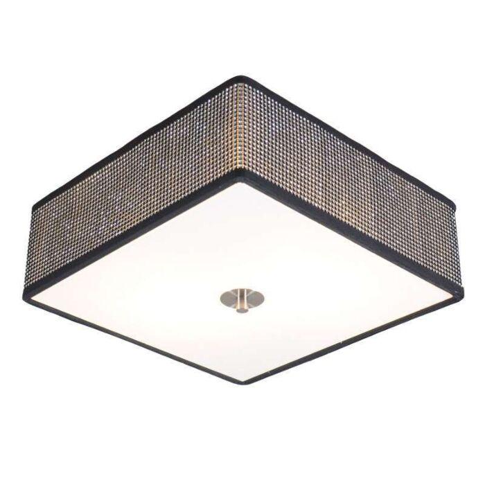 Plafond-'Drum-35-Q'-Design-svart/kristall---Passande-för-LED-/-Inomhus