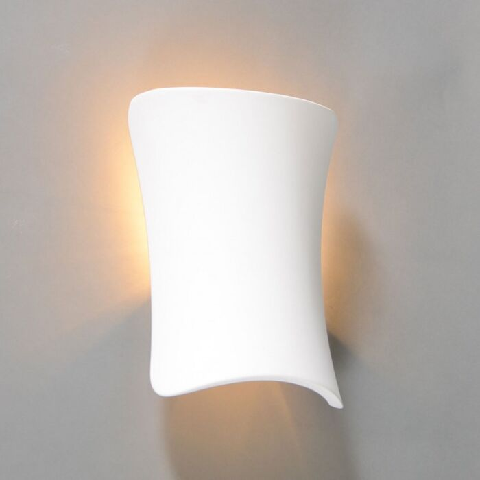 Vägglampa-'Gipsy-Metz'-Design-vit/gips---Passande-för-LED-/-Inomhus