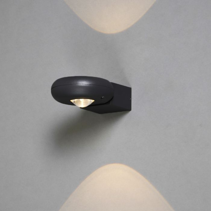 Vägglampa-'Diablo-II'-Moderna-grafit/aluminium---LED-inkluderat-/-Utomhuslampa,-Inomhus,-Badrum