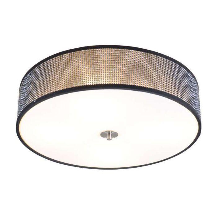 Stor-plafond-'Drum-50'-Design-svart/kristall---Passande-för-LED-/-Inomhus