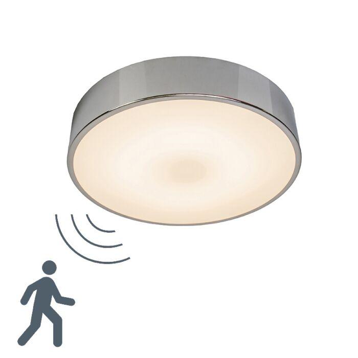 Plafond-med-rörelsedetektor-'Motion-II'-Moderna-krom/aluminium---LED-inkluderat-/-Inomhus,-Badrum