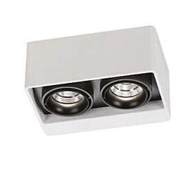 Plafond-strålkastare-'Boxter-2'-Moderna-vit/aluminium---LED-inkluderat-/-Inomhus
