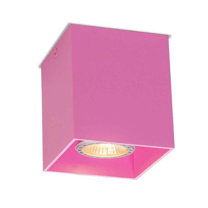 Plafond-strålkastare-'Qubo-1'-Moderna-rosa/aluminium---Passande-för-LED-/-Inomhus