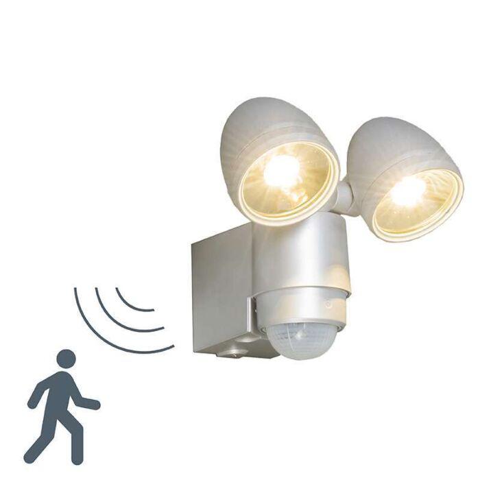Vägglampa-med-rörelsedetektor/sensor-'VAP-Duo'-Moderna-grå/aluminium---LED-inkluderat-/-Utomhuslampa