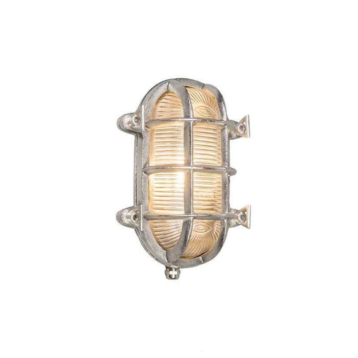Plafond-och-vägglampa-'Nautica-O'-Klassisk-aluminium/nickel---Passande-för-LED-/-Utomhuslampa,-Inomhus,-Badrum