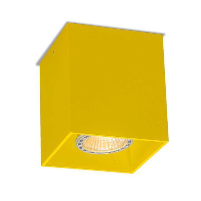 Plafond-strålkastare-'Qubo-1'-Moderna-gul/aluminium---Passande-för-LED-/-Inomhus