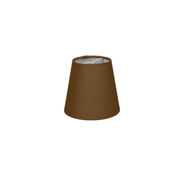 Skärm-med-glödlampsfäste-'10cm-R-SC'-Nej-brun/tyg