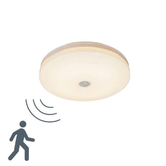 Plafond-med-rörelsedetektor-'Motion-V-14W'-Moderna-vit/glas---LED-inkluderat-/-Utomhuslampa,-Inomhus