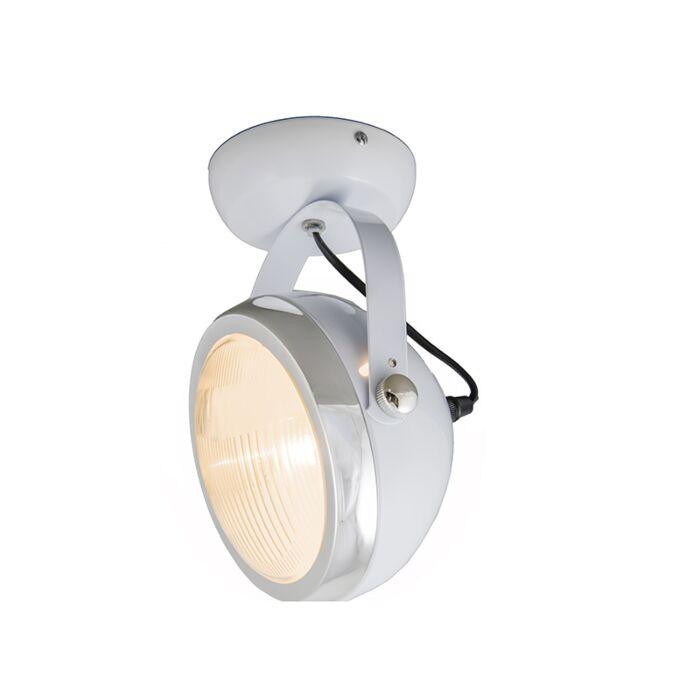 Vägg-och-plafond-strålkastare-'Biker-1'-Retro-vit/metall---Passande-för-LED-/-Inomhus