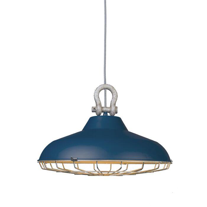 Taklampa-'Strijp'-Industriell-blå/metall---Passande-för-LED-/-Inomhus