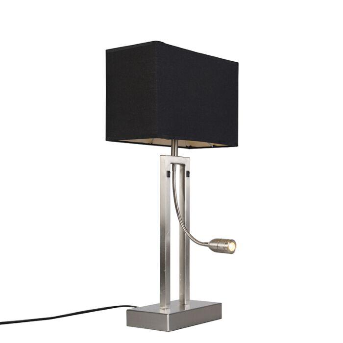 Bordslampa-med-skärm-'Bergamo'-Moderna-svart/metall---Passande-för-LED-/-Inomhus