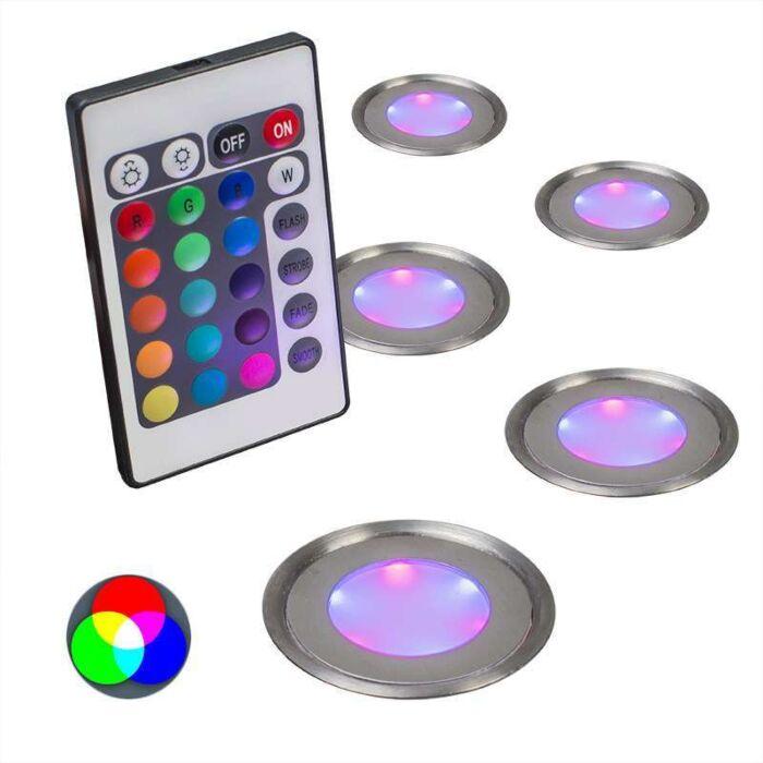 Spotlight/downlight-'Puck-5-IP67-RGB'-Moderna-rostfritt-stål---LED-inkluderat-/-Utomhuslampa,-Inomhus,-Badrum