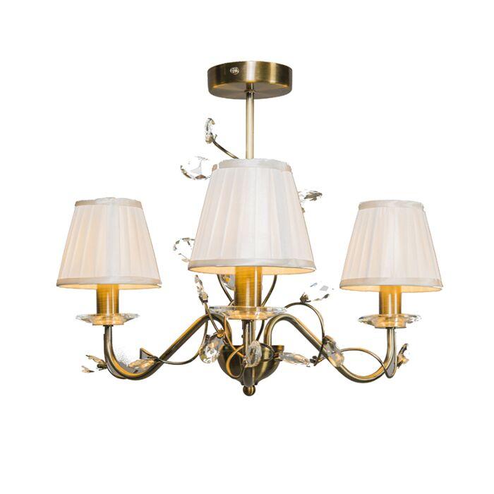 Plafond-med-skärm-'Ruffle-3'-Klassisk-brons---Passande-för-LED-/-Inomhus