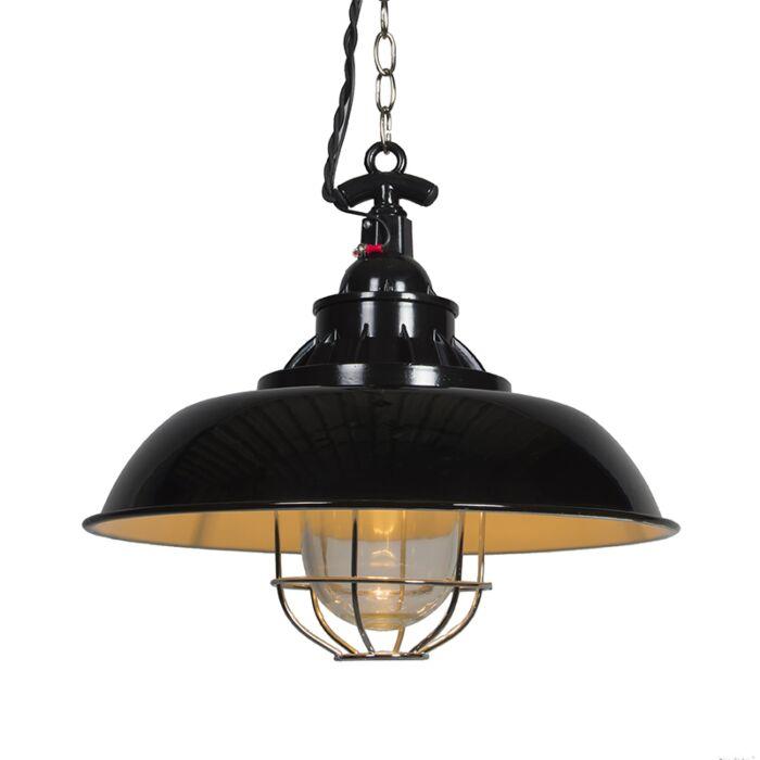 Nautisk-taklampa-'Strijp-S'-Lantlig-svart/metall---Passande-för-LED-/-Inomhus