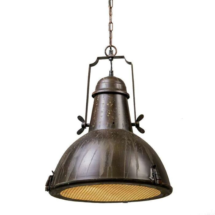Taklampa-'Petrol-I'-Lantlig-brunrost/metall---Passande-för-LED-/-Inomhus