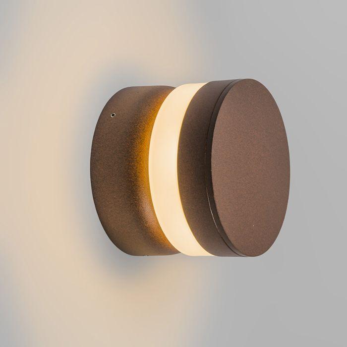 Vägglampa-'Tempest'-Moderna-brunrost/aluminium---LED-inkluderat-/-Utomhuslampa
