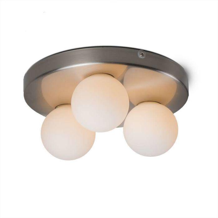Plafond-'Bossini-3'-Moderna-stål---Passande-för-LED-/-Inomhus,-Badrum
