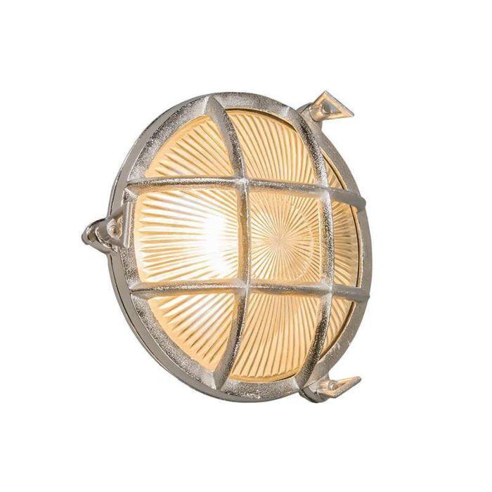 Plafond-och-vägglampa-'Nautica-R'-Klassisk-aluminium/nickel---Passande-för-LED-/-Utomhuslampa,-Inomhus,-Badrum