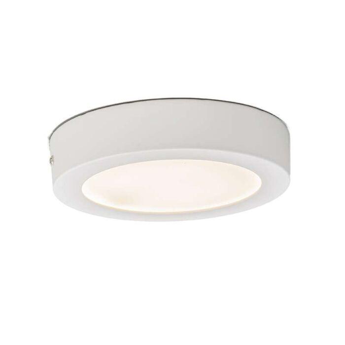 Plafond-och-vägglampa-'Plate-12W-R'-Moderna-vit/aluminium---LED-inkluderat-/-Inomhus