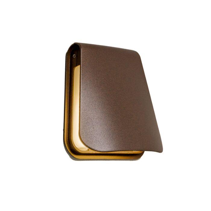 Vägglampa-'Cover'-Design-brunrost/aluminium---LED-inkluderat-/-Utomhuslampa