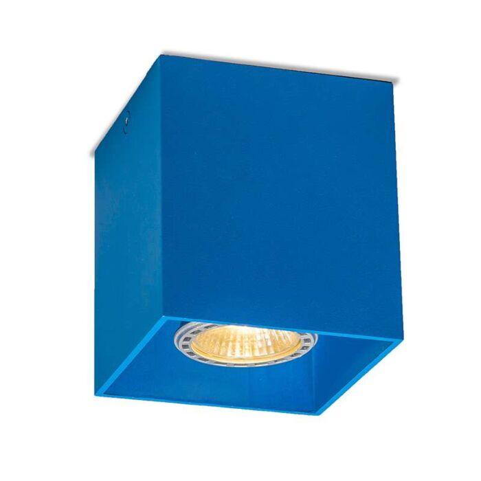 Plafond-strålkastare-'Qubo-1'-Moderna-blå/aluminium---Passande-för-LED-/-Inomhus