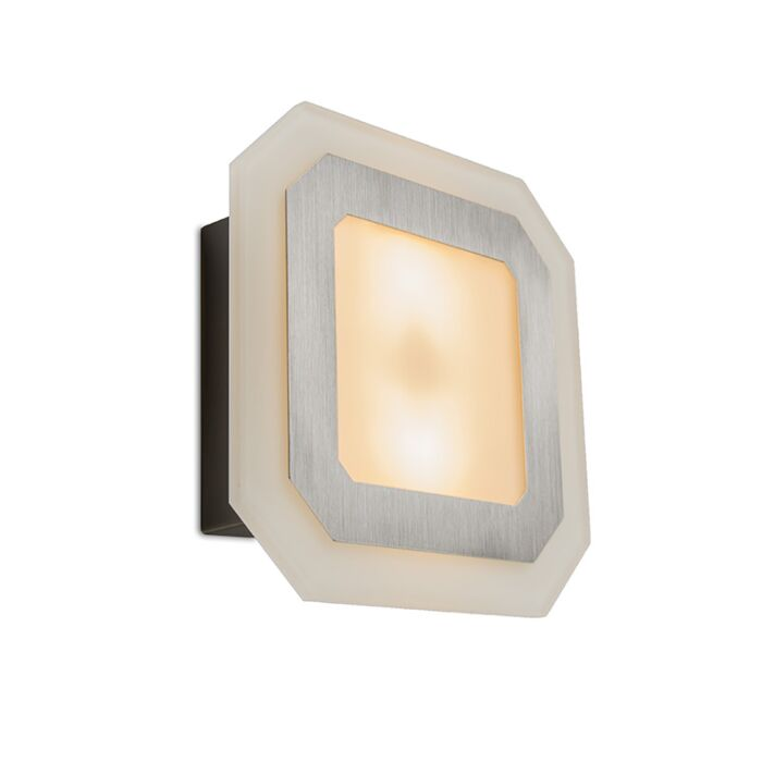 Plafond-och-vägglampa-'Visby'-Design-vit/glas---Passande-för-LED-/-Utomhus,-Inomhus