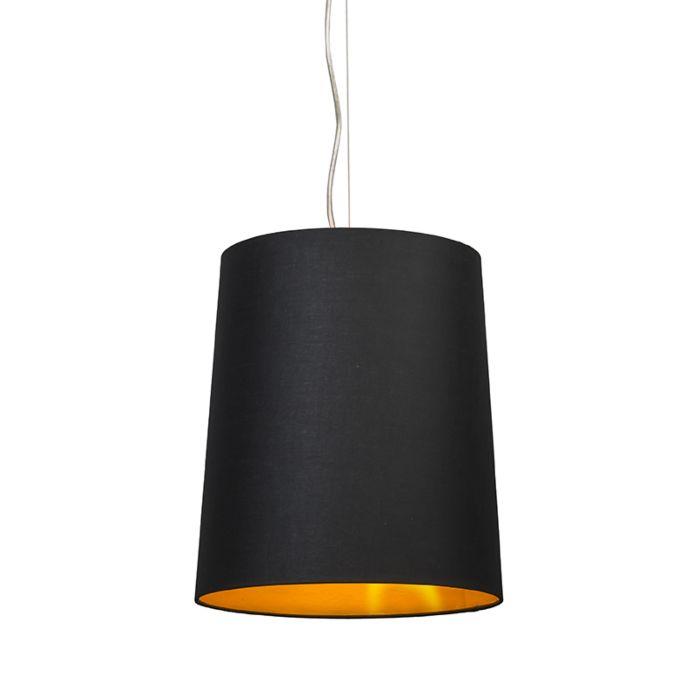 Taklampa-'Cappo-1'-Lantlig-svart/tyg---Passande-för-LED-/-Inomhus