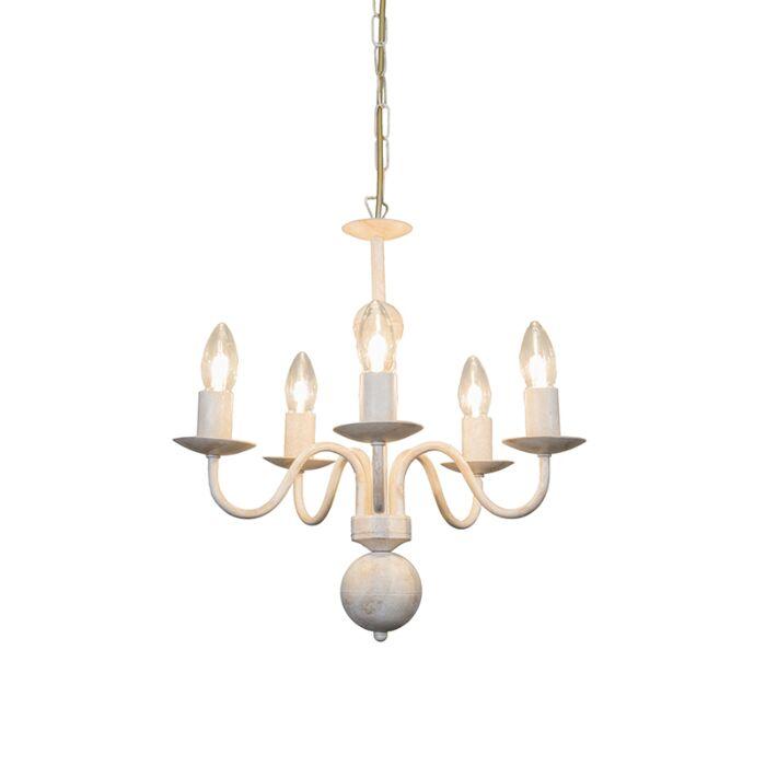 Italiensk-takkrona-'Romano-5'-Klassisk-vit/metall---Passande-för-LED-/-Inomhus