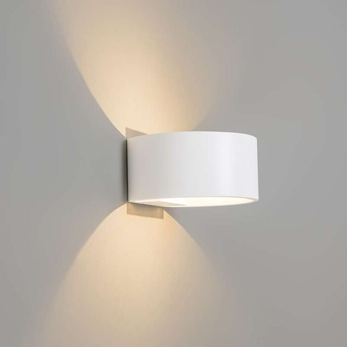 Vägglampa-'Orion-1'-Moderna-vit/aluminium---LED-inkluderat-/-Inomhus